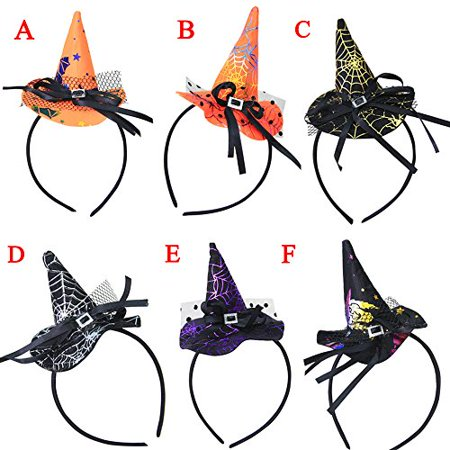 Start 6PCs Multicolor Witch Hat Costume Accessory Headband For Party & Halloween & Carnivals