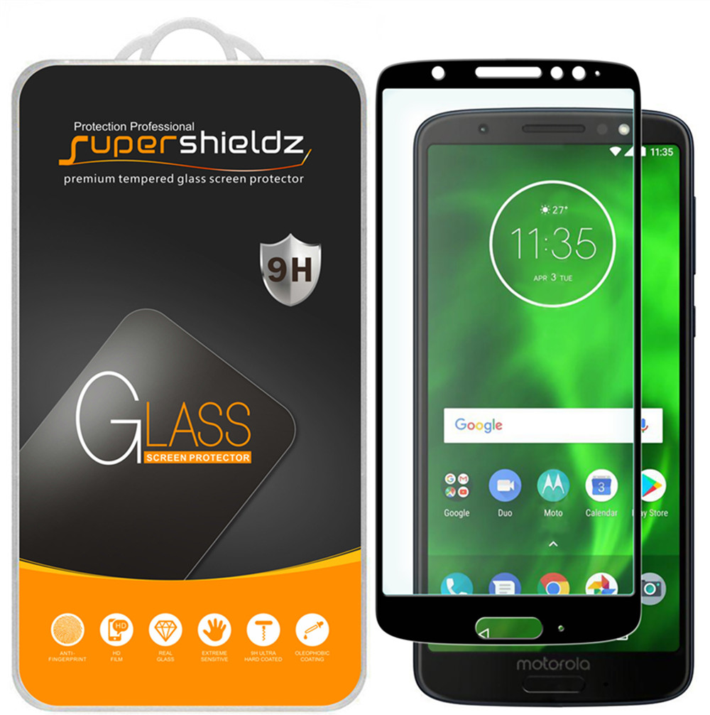 [2-Pack] Supershieldz for Motorola Moto G6  [Full Screen Coverage] Tempered Glass Screen Protector, Anti-Scratch, Anti-Fingerprint, Bubble Free (Black Frame)