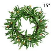 Door Wreath for Spring - 15In Olive Summer Wreath Artificial Green Wreath Front Door Leaves Wreaths Indoor Natural Vine Wreaths Home Decor for Window, Outdoor, Wedding, All Season