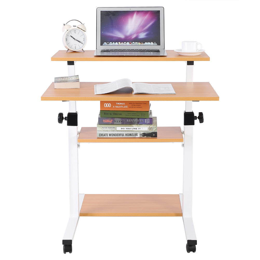 Mobile Height Adjustable Wood Stand Up Desk with Storage for Computer Work Station Rolling Presentation Cart