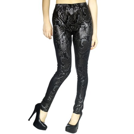 Women's Skinny faux leather Leggings with Textured Snake Skin Print,Silver,S/M ()