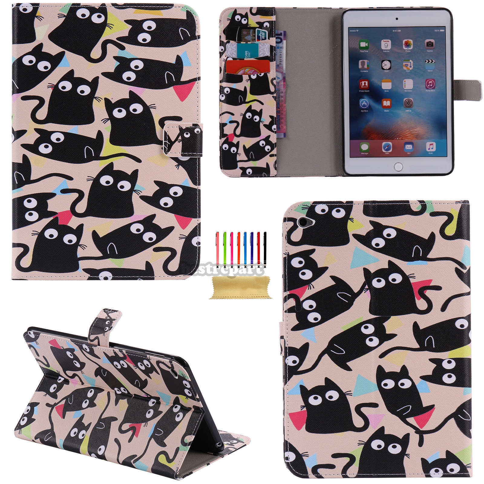 Dteck For iPad  Pro 9.7 Various Pattern PU Leather Wallet Card Slots Case Flip Stand Cover - Black Cat