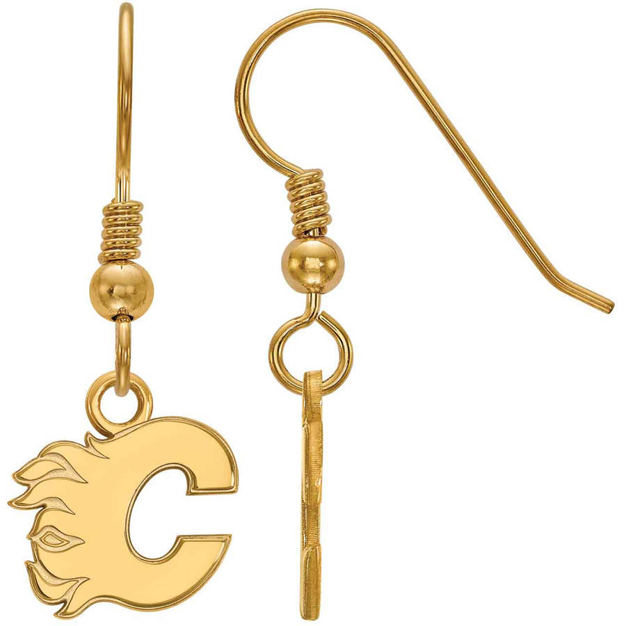 LogoArt NHL Calgary Flames 14kt Gold-Plated Sterling Silver Extra Small Dangle Earrings