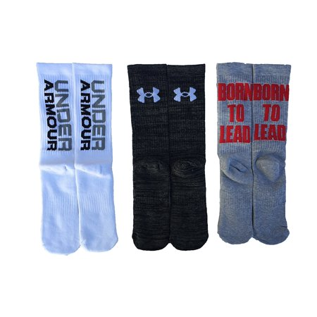 Under Armour Boy S Ua Phenom Crew Socks 3 Pack  Strategic Cushion Protects High Impact Areas Of Feet  Three Pairs  By Underarmour
