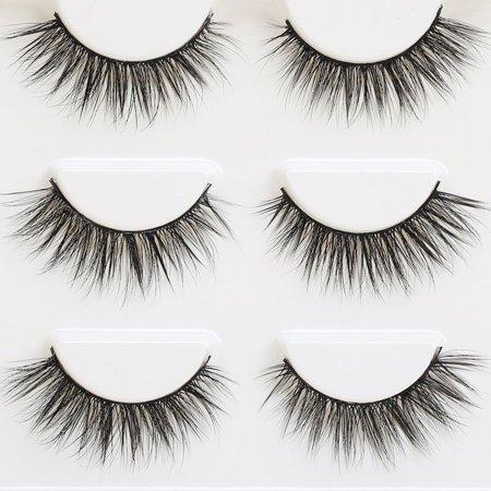 3 Pair 3D Natural Bushy Cross False Eyelashes Mink Hair Eye Lashes (The Lash Box Mink Lashes In Fabulist)