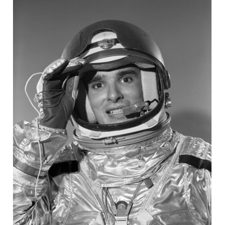 1960s Portrait Of Saluting Smiling Astronaut In Space Suit And Helmet Poster Print By Vintage Collection