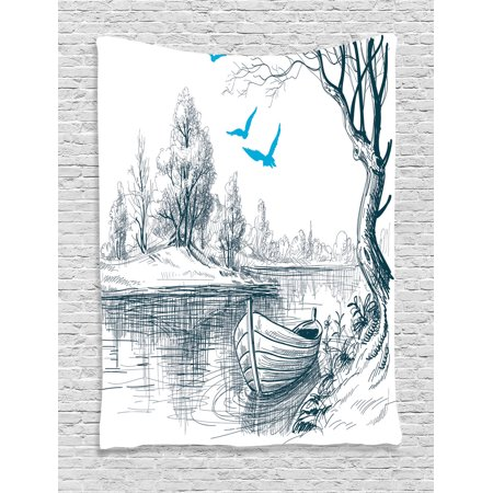Lake House Decor Wall Hanging Tapestry Boat On Calm River