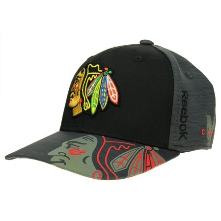 Reebok NHL Men's Chicago Blackhawks Playoff Structured No Patch Flex Hat, Grey