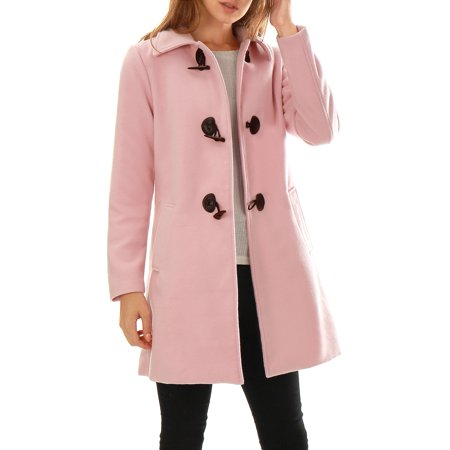 Women's Turn Down Collar A-line Toggle Worsted Duffle Coat Pink (Size M / 10) Pink XL (US 18)