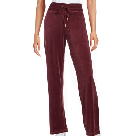 Calvin Klein Red Fig Womens Drawstring Velour Lounge Pants $69