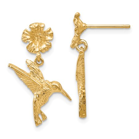 14k Hummingbird Dangles from Flower Post Earrings (Colored Flower Dangle Earrings)