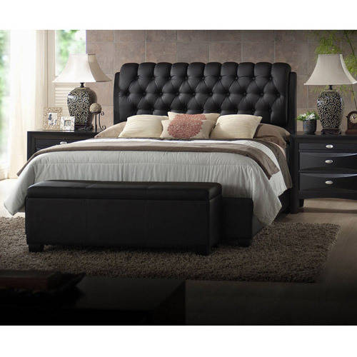 ACME Furniture Ireland Queen Faux Leather Bed with Tufted Headboard, Black