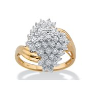 Round Diamond Cluster Bypass Ring 1/8 TCW in 18k Gold over Sterling Silver