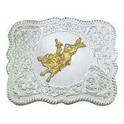 Montana Silversmiths Belt Buckle Mens Bull Rider Silver 61669-528
