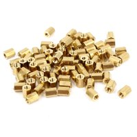 100 Pcs M2 x 4mm Gold Tone Dual Ends CCTV Camera Standoff Hexagonal Nut Spacer