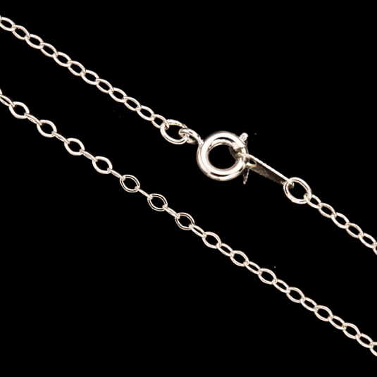 Silver Flat Oval Link Chain Necklace With Springring Clasp 16Inch Silver Plated Brass 2mm Chain Width Sold per pkg of 1pcs