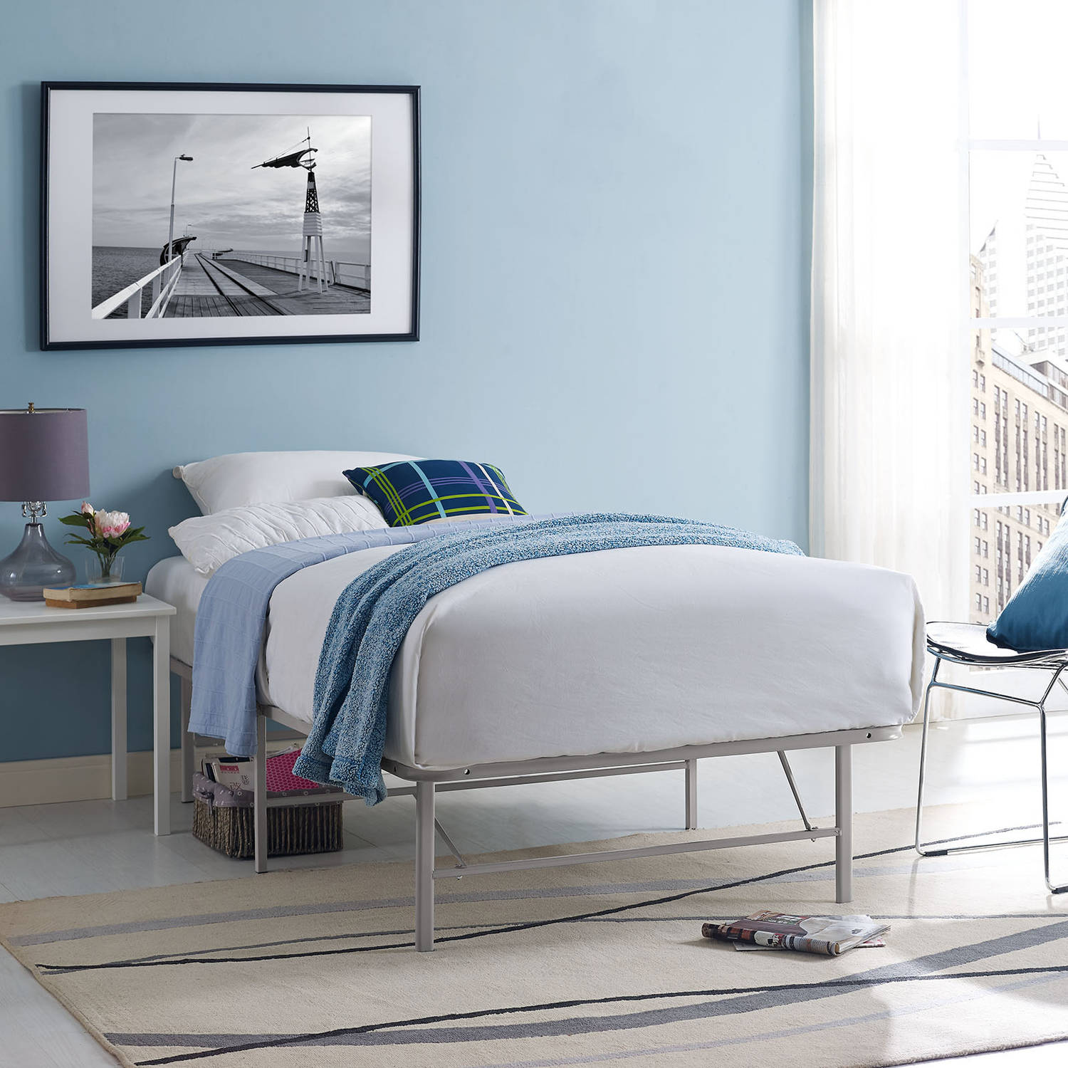 Modway Horizon Stainless Steel Bed Frame, Multiple Sizes and Colors
