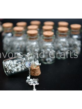 12 Baptism Favors Pearl Rosaries Bottles Christening Recuerdos Bautizo Rosarios