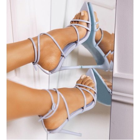 Cape Robbin ADA Light Blue Super Strappy Pointy Open Toe Ankle Strap Stiletto Heel