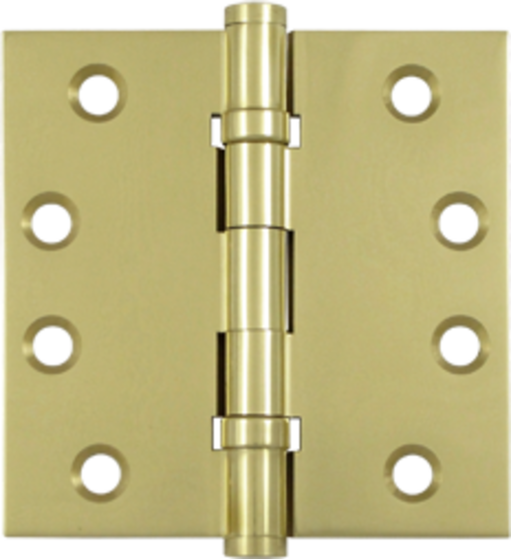 """4"""" x 4"""" Solid Brass Square Corner Ball Bearing Mortise Hinge - Pair Unlaquered"""