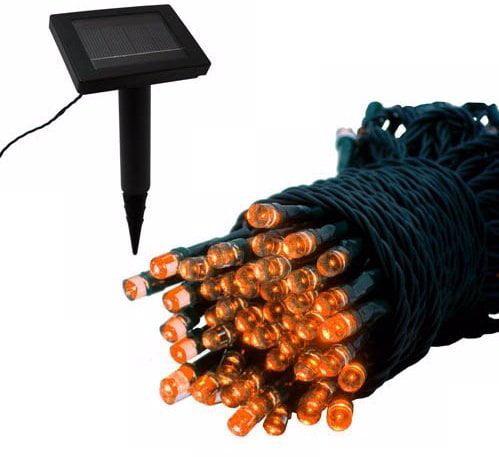 Solar Powered 100 Orange LED String Lights