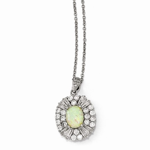Cheryl M Sterling Silver W  Rhodium-plated Cubic Zirconia and Synthetic Opal 18in Necklace by Jewelrypot