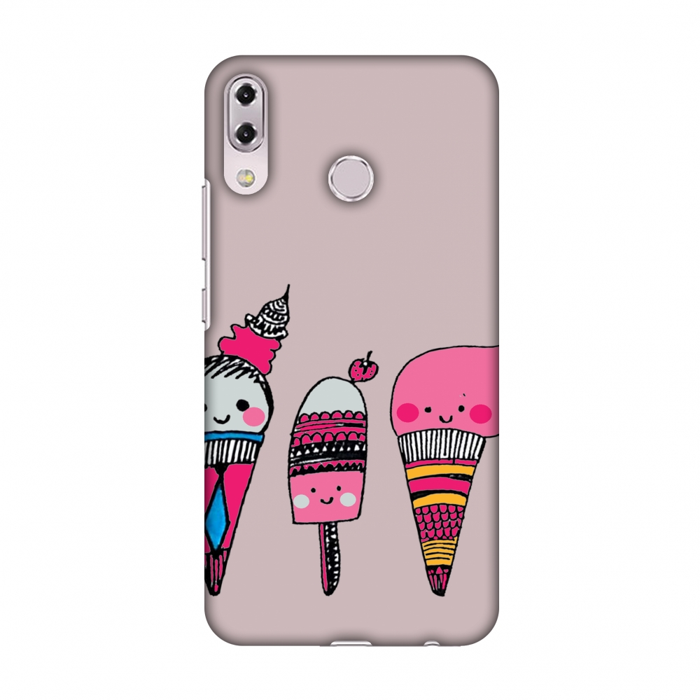 Asus Zenfone 5Z Case, Premium Slim Fit Handcrafted Printed Designer Hard Snap On Shell Case Back Cover for Asus Zenfone 5Z ZS620KL - Ice Creams- Pale Plum