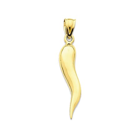 14K Yellow Gold Italian Horn Charm Pendant - 30mm