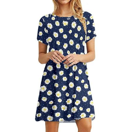 Nlife Women Daisy Floral Stripe Print Round Neck Short Sleeve Mini Dress