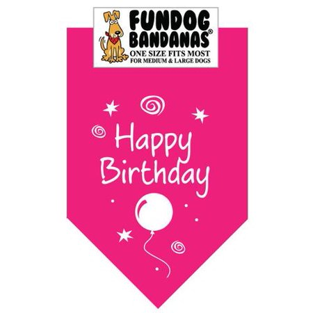 Fun Dog Bandana - Happy Birthday - One Size Fits Most for Med to Lg Dogs, hot pink pet scarf (Happy Birthday To Dog)