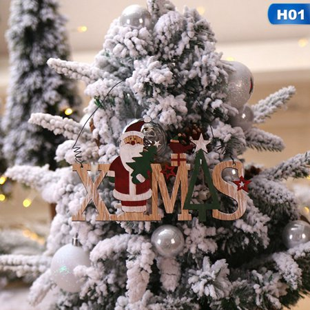 Raypadula Christmas Decor Merry Christmas Bells Letters Wooden Pendant Old Man Snowman Window Hanging Pendant ()