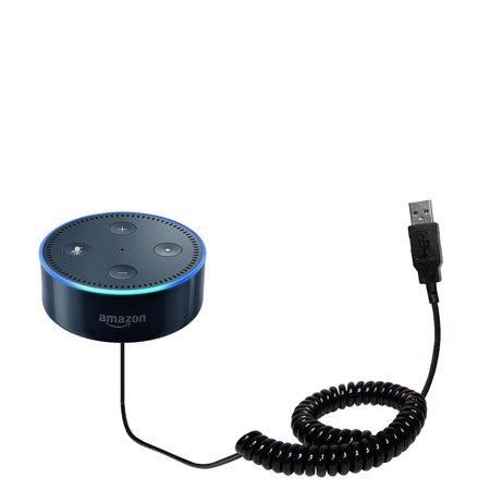 Coiled Power Hot Sync USB Cable suitable for the Amazon Echo Dot with both data and charge features - Uses Gomadic TipExchange