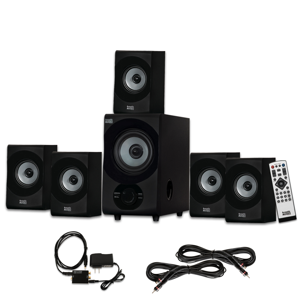 Acoustic Audio AA5172 Home 5.1 Bluetooth Speaker System with Optical Input and 2 Extension Cables
