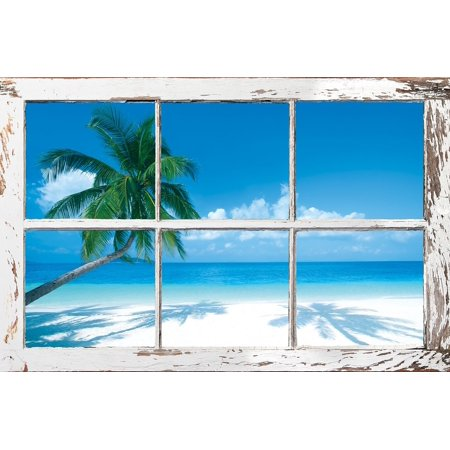 TROPICAL WINDOW - PALM TREES POSTER 24X36..., By HUNTINGTON GRAPHICS Ship from (Huntington Hanging)