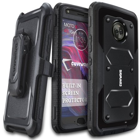 newest fe85f 92e62 Moto X4 Case, COVRWARE [Aegis Series] w/ Built-in [Screen Protector] Heavy  Duty Full-Body Rugged Holster Armor Case [Belt Swivel Clip][Kickstand] for  ...