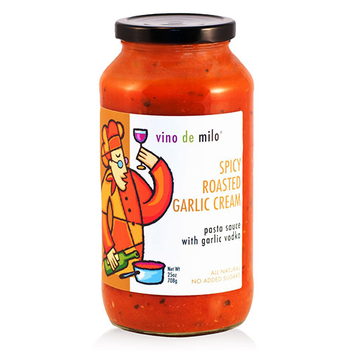 Vino de Milo No Sugar Added Pasta Sauce (25 oz) - Spicy Roasted Garlic Cream Sauce