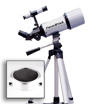Twinstar EclipseFINDER 80mm Refractor Solar Eclipse Telescope, Silver