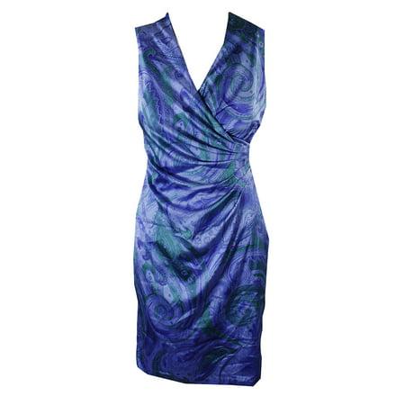 Ralph Lauren Blue Multi Paisley Print Faux-Wrap Dress 4P