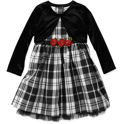 George Baby Girls' 2-Piece Taffeta with Lurex Holiday Dress with Shrug