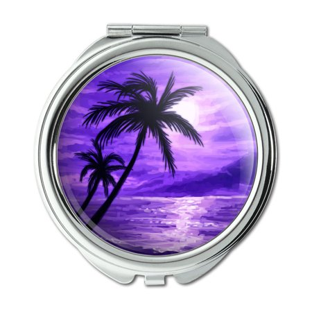 Sunset Beach Palm Tree Hawaii Paradise Purple Compact Purse Mirror