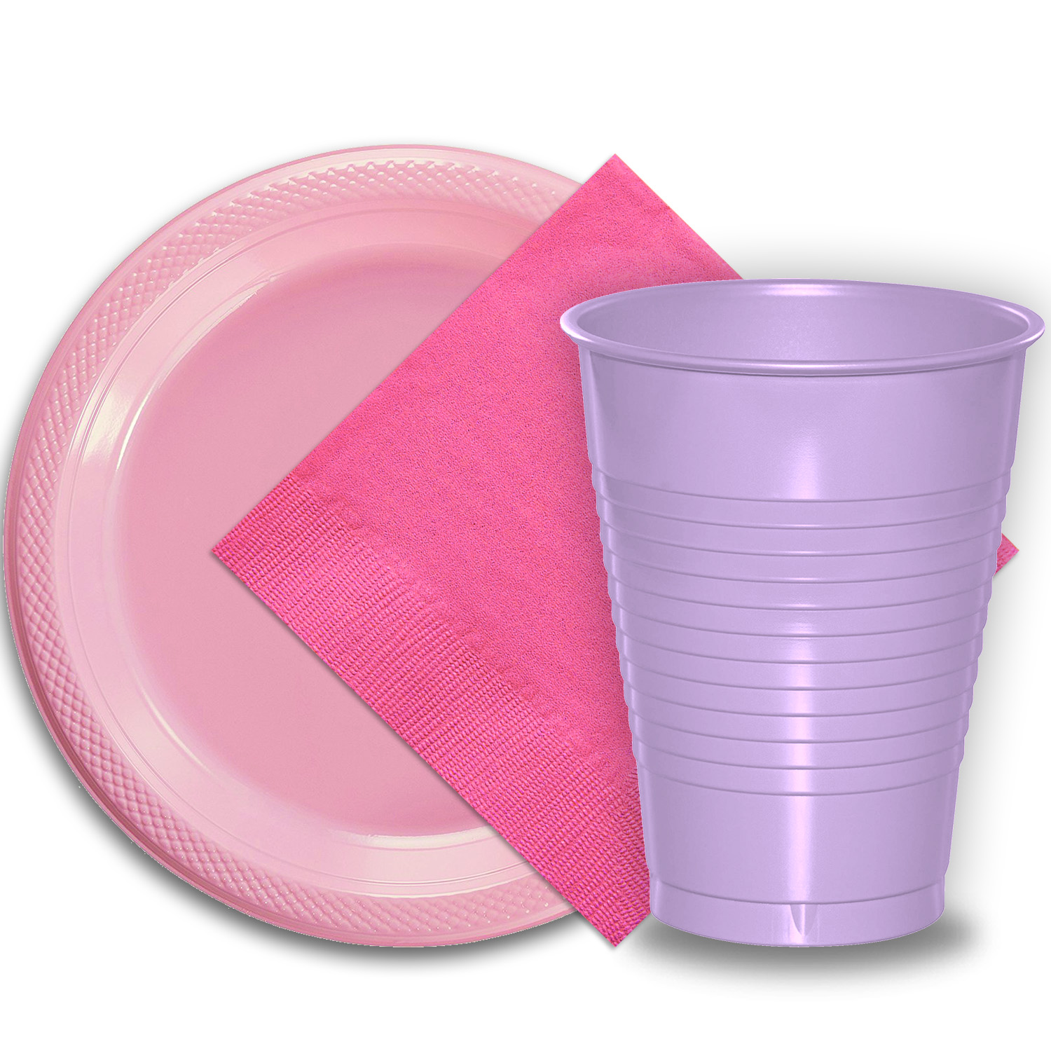 """50 Pink Plastic Plates (9""""), 50 Lavender Plastic Cups (12 oz.), and 50 Hot Pink Paper Napkins, Dazzelling Colored Disposable Party Supplies Tableware Set for Fifty Guests."""