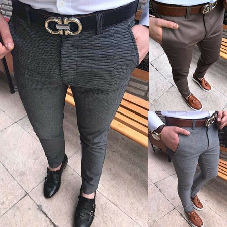 Mens Slim Fit Skinny Pencil Pants Business Formal Suit Dress Casual Trousers Brown M Slim Fit Suit Trousers