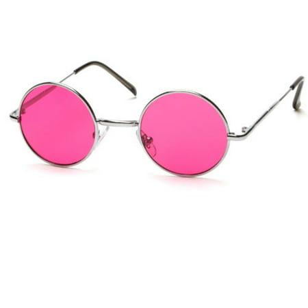 John Lennon Style Vintage Retro Classic Circle Color Round Sunglasses Men (Pink Circle Sunglasses)