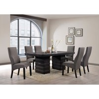 """Aziza 7-Piece Dining Set, Cappuccino Wood, 71"""" Rectangle, Contemporary, (Table & 6 Gray Parsons Chairs)"""