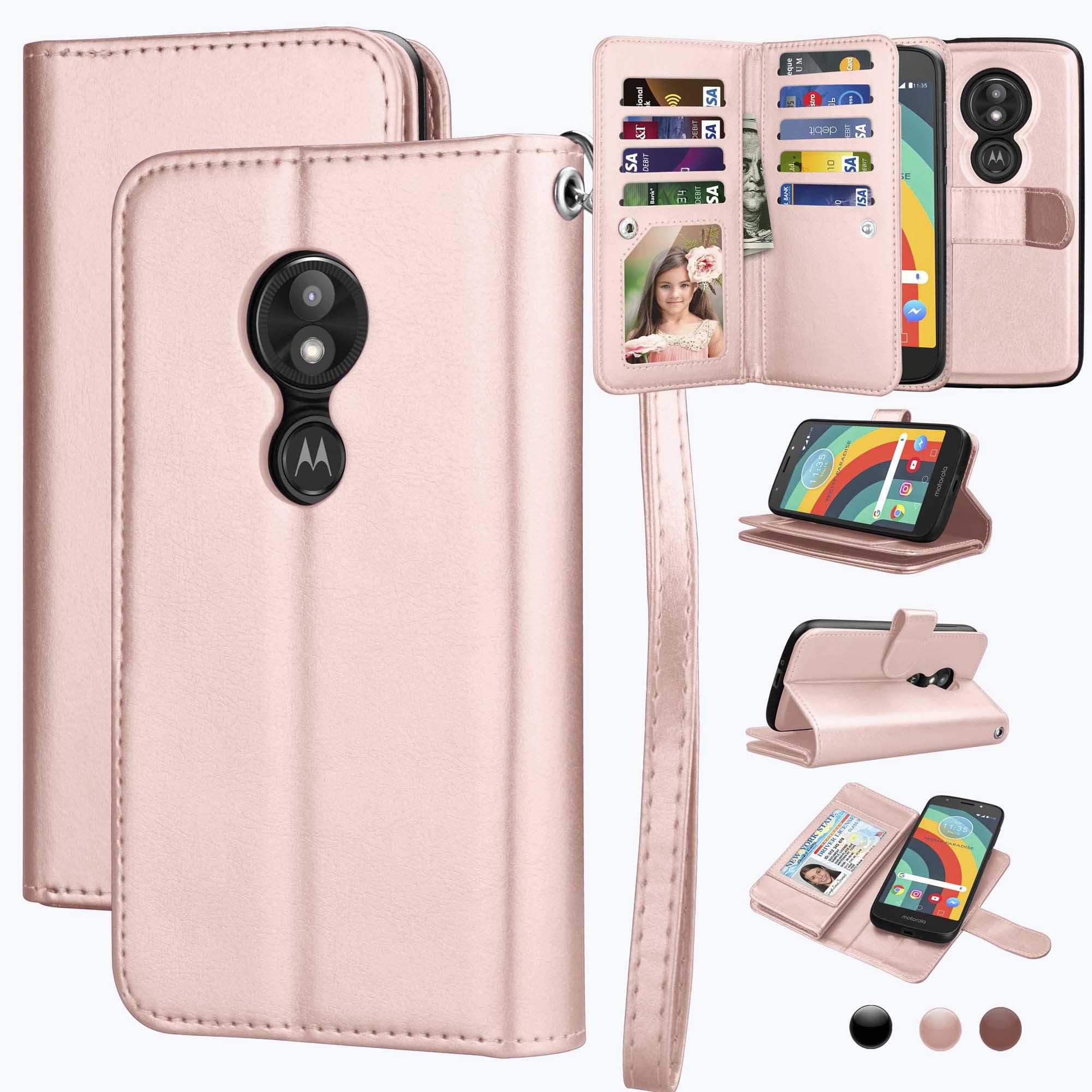 Moto E5 Play Case, Moto E5 Cruise Case, Moto E5 Play Wallet Case, Njjex 11 Card Slots Detachable Magnetic Wallet Case PU Leather Flip Cover Wrist