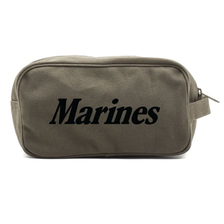 Marine Corps Text Canvas Shower Kit Travel Toiletry Bag Case