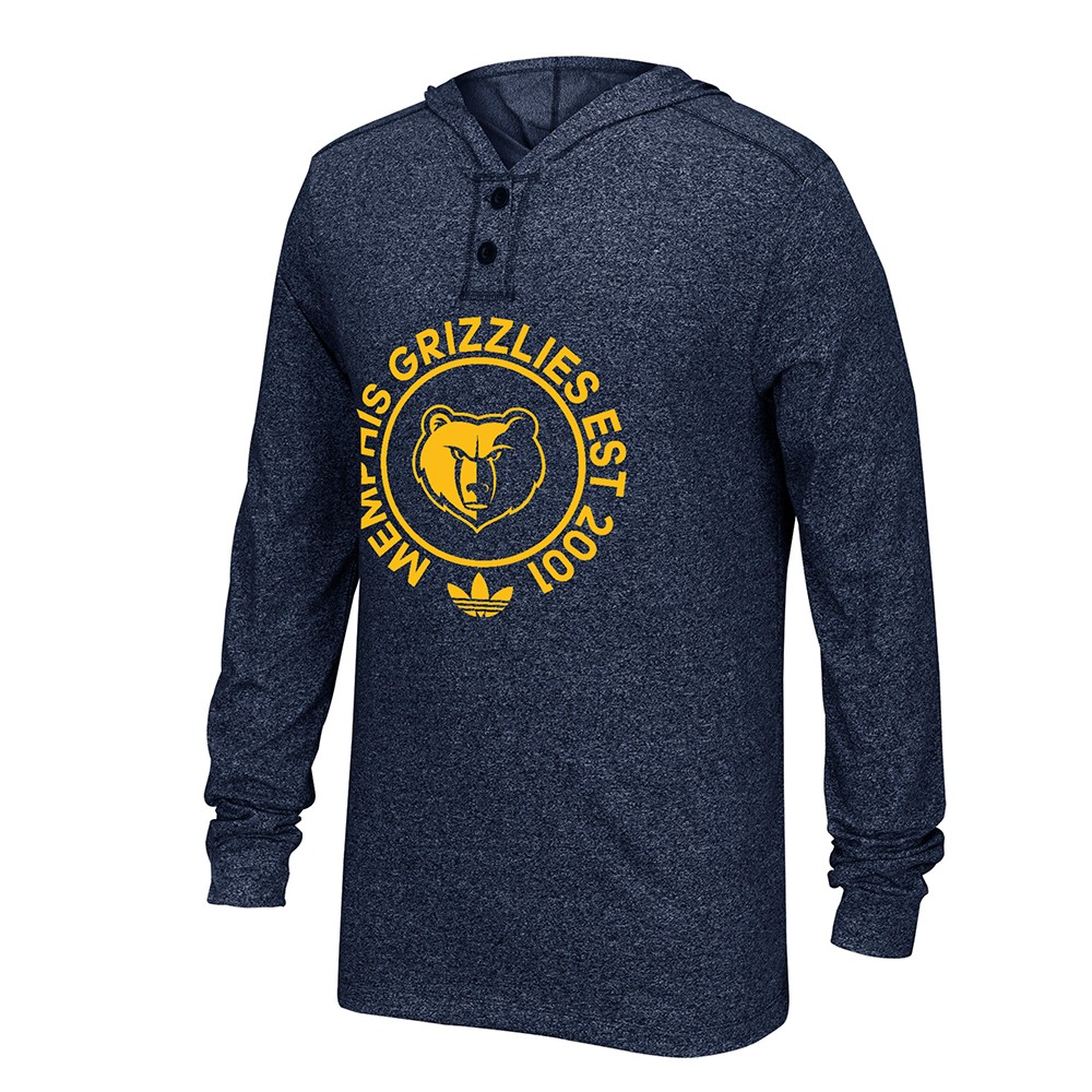 Memphis Grizzlies NBA Adidas Navy Blue Adidas Originals 2 Button Henley Pullover Hoodie Hoodie For Men by Adidas