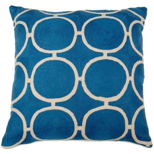 Indias Heritage C833 Circle Blue Hand Embroidery Pillow, Blue