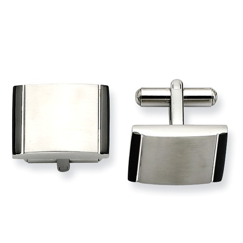 Stainless Steel Engravable Satin w/ Black Acrylic Cuff Links