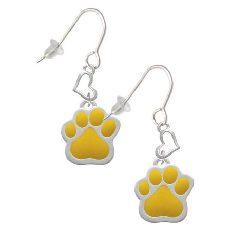 Silvertone Large Yellow Paw Heart French Earrings